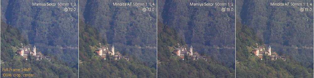 artaphot 50mm Mamiya vs Minolta center