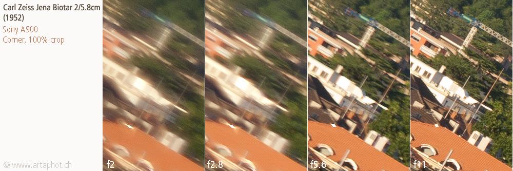 50mm Lugano CZJ Biotar 58mm f2 corner