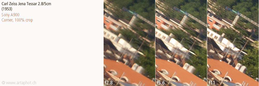 50mm Lugano CZJ Tessar 50mm f28 corner