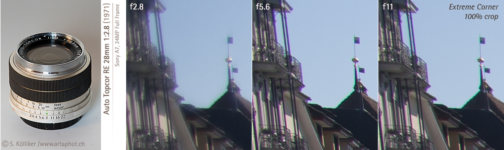 artaphot Topcor RE 28mm f28 corners