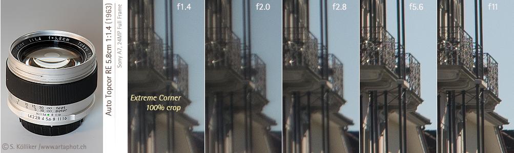 artaphot Topcor RE 58mm f14 corners