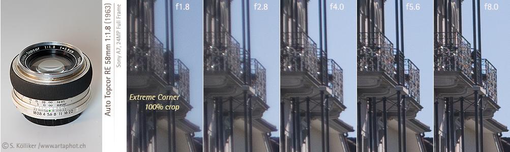 artaphot Topcor RE 58mm f18 corners