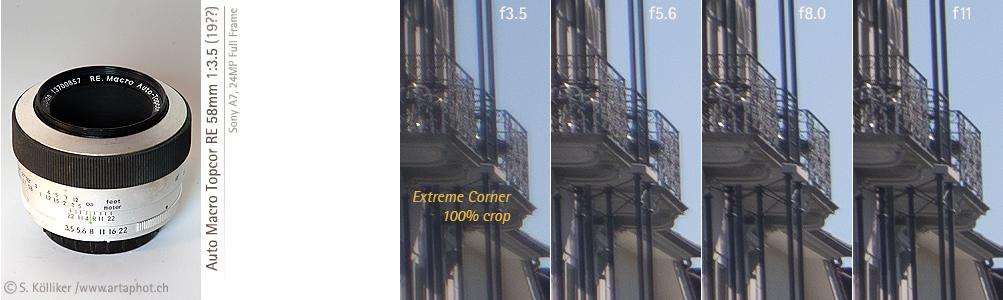 artaphot Topcor RE 58mm f35 Macro corners